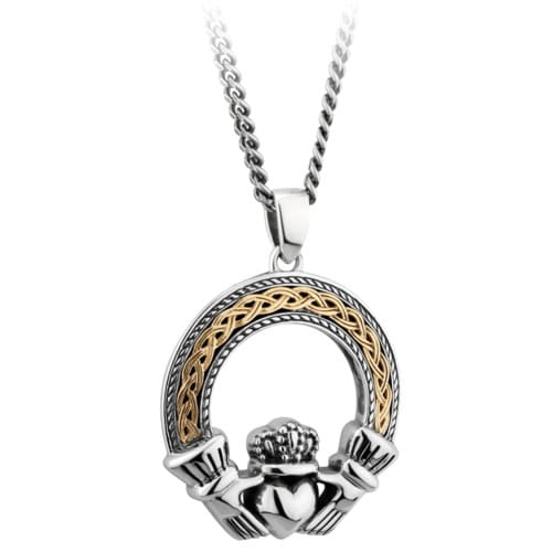 Silver & 10K Gold Celtic Claddagh Necklace