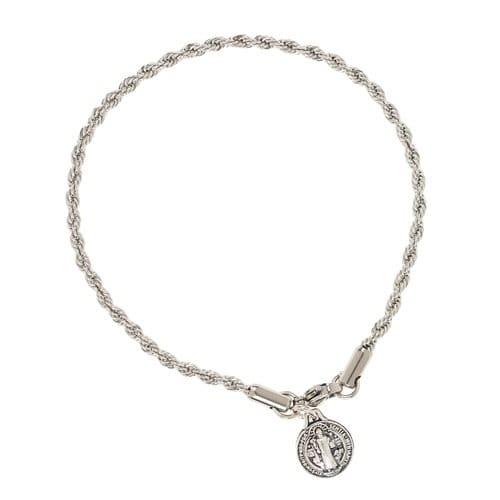 St. Benedict Medal Rope Chain Bracelet