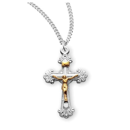 Two_Tone_Scalloped_Sterling_Silver_Crucifix_Necklace