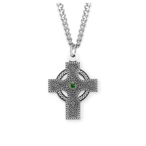 Sterling_Silver_Emerald_Celtic_Cross_Necklace