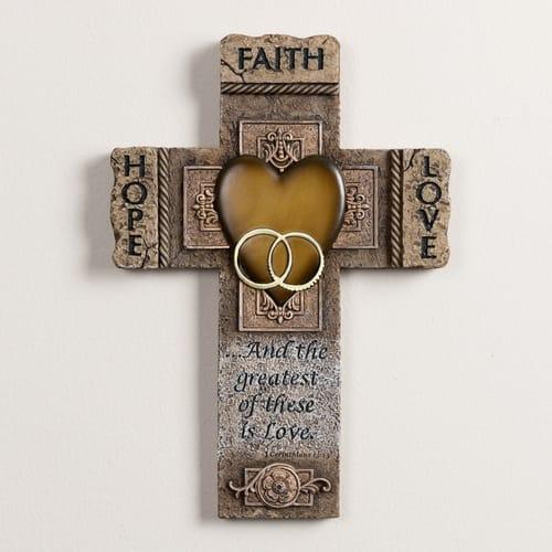 Faith, Hope and Love Marriage Cross 10.5 inch