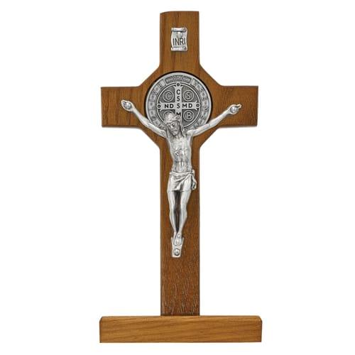 Walnut Standing St. Benedict Crucifix - 6 inch