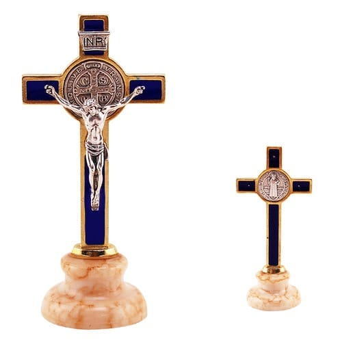 St. Benedict Cross with Base - Blue Enamel