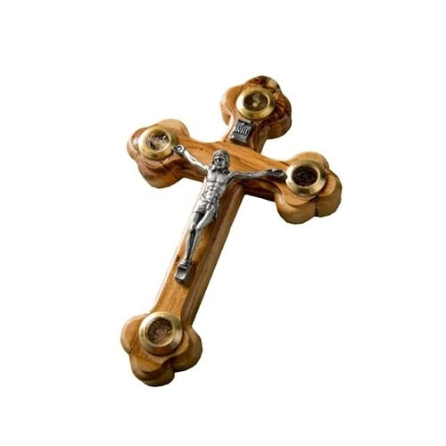 Olive Wood Crucifix with Jerusalem Soil