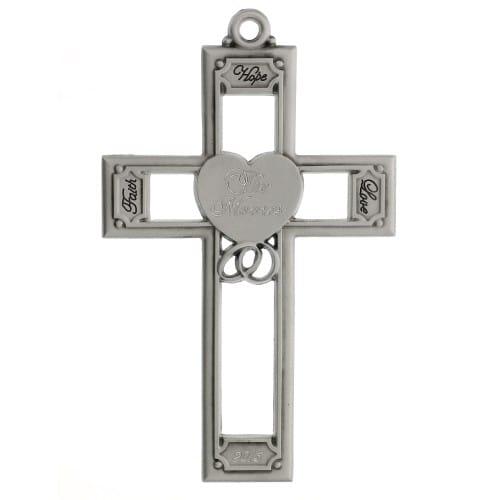 Faith, Hope & Love Personalized Wedding Cross