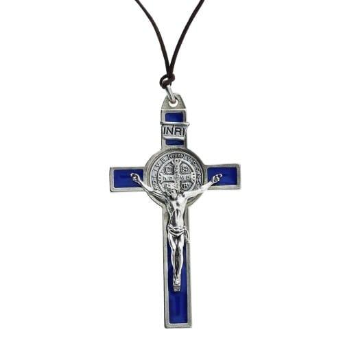 Blue St. Benedict Pectoral Crucifix, 3 inch