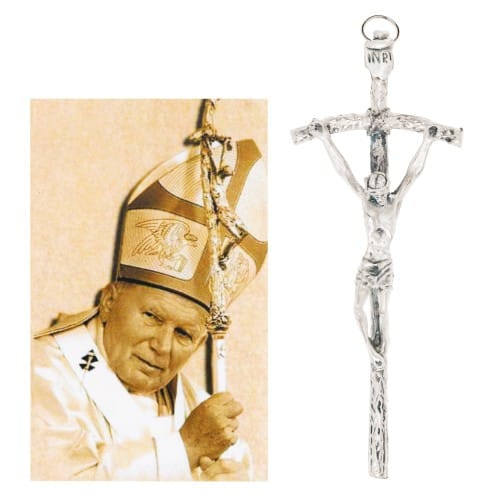 St. John Paul II Picture and Papal Crucifix Set