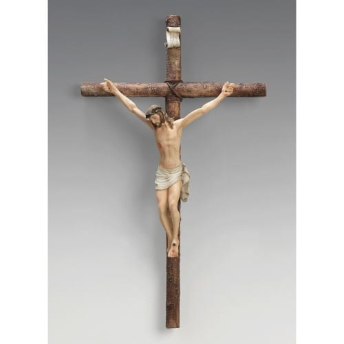 "Log Style Crucifix 19"""