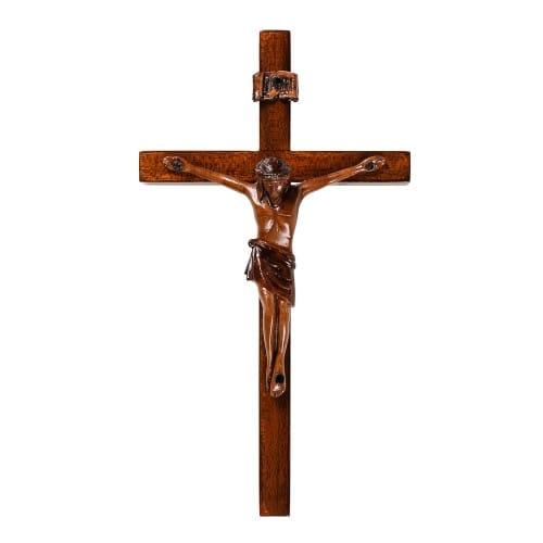 "Mahogany Wall Crucifix 8"""
