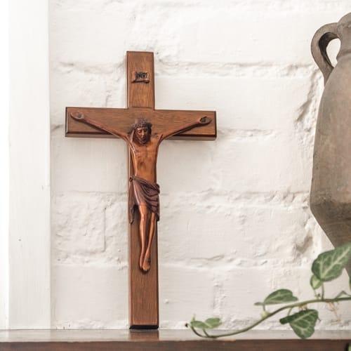 "Mahogany Wall Crucifix 12"""