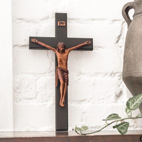 "Beveled Black Mahogany Wall Crucifix 12"""