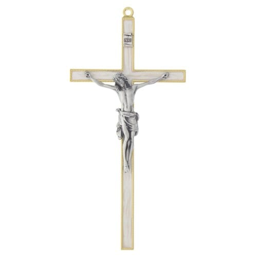 Pearlized Gold & Silver Crucifix - 7 inch