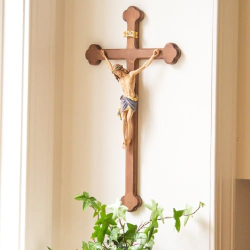 Baroque Siena Hand-Painted Italian Crucifix