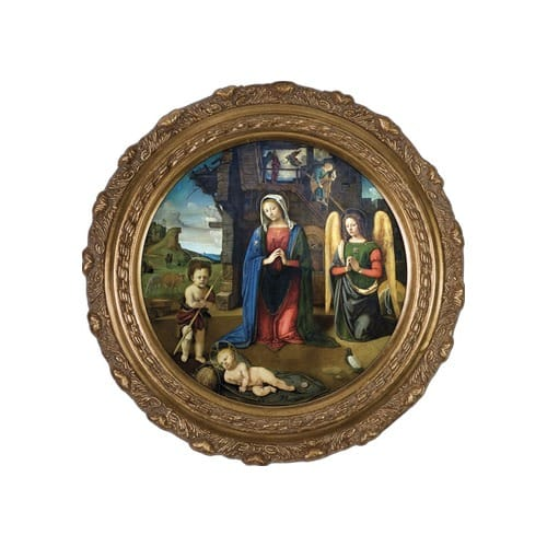 Nativity with Kneeling Angel on Canvas w/ Round Gold Frame