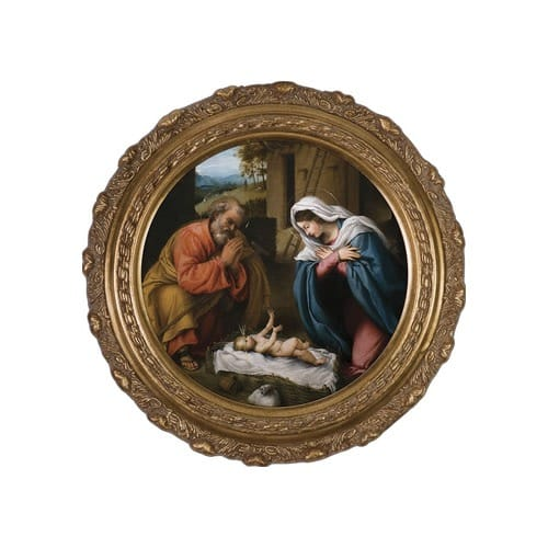 Nativity on Canvas w/ Round Gold Frame