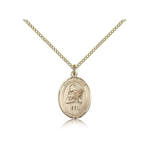 Gold Filled St. Agatha Pendant w/ Chain