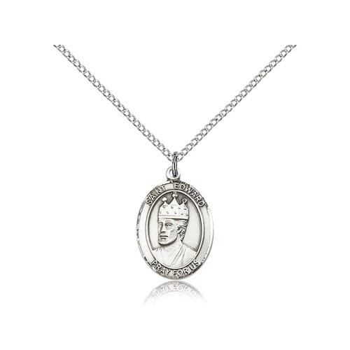 Sterling Silver St. Edward the Confessor Pendant w/ Chain