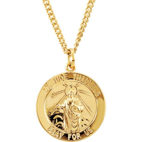 24kt Gold Plated 22mm Round St. Jude Medal 24