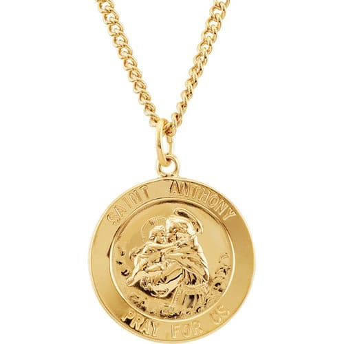 24kt gold plated 22mm st anthony medal 24 necklace the catholic 24kt gold plated 22mm st anthony medal 24 aloadofball Images