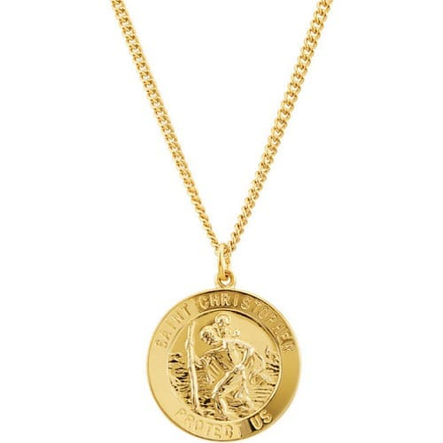 24kt Gold Plated 28.19x25.13mm St. Christopher Medal 24