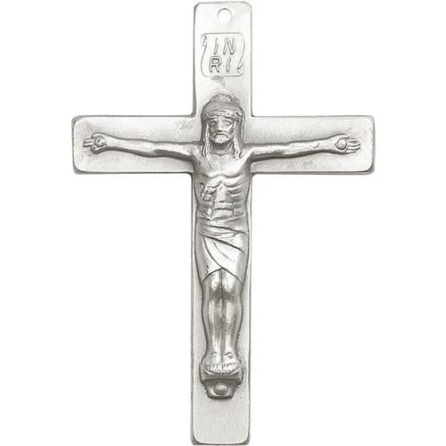 Antique Silver Crucifix Keychain