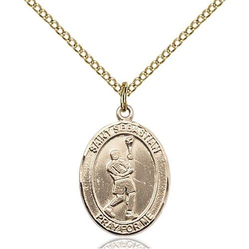 14kt Gold Filled St. Sebastian/Lacrosse Pendant