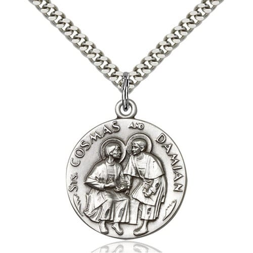 Sterling Silver Sts. Cosmos & Damian Pendant