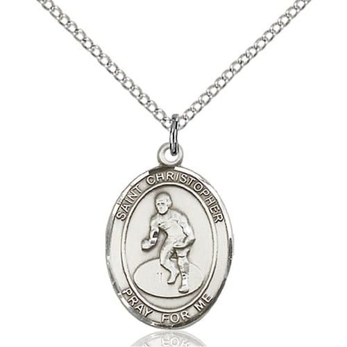 Sterling Silver St. Christopher/Wrestling Pendant