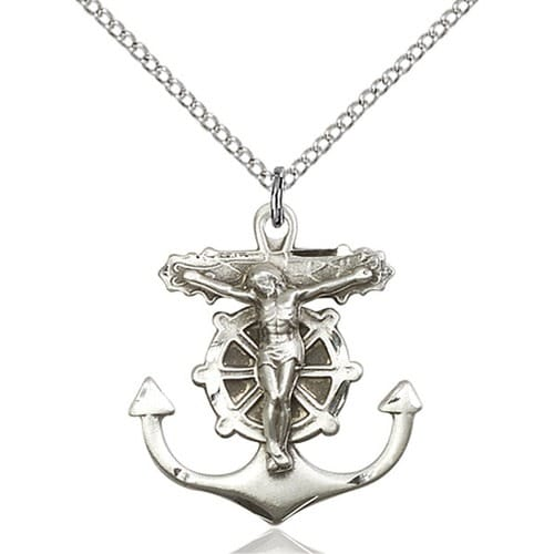 Sterling Silver Anchor Crucifix Pendant