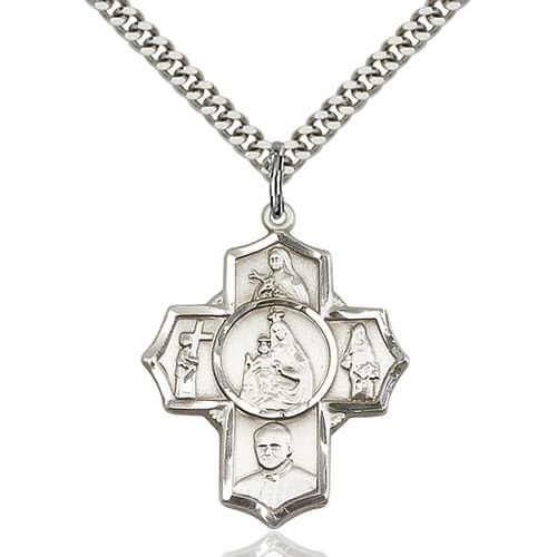 Sterling Silver Carmelite 4-Way Pendant