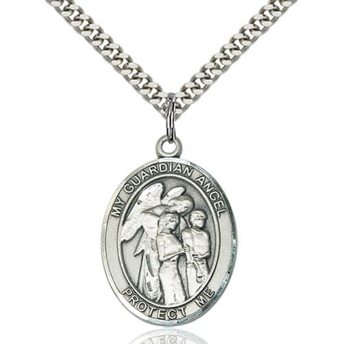 Sterling Silver Guardian Angel w/Children Pendant