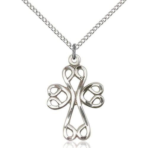 Sterling Silver Scroll Cross Pendant