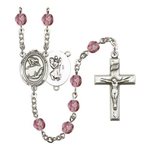 St. Christopher/Gymnastics Purple February Rosary 6mm