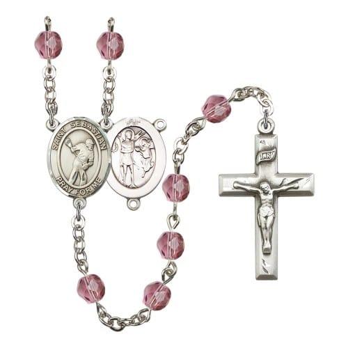 St. Sebastian/Lacrosse Purple February Rosary 6mm