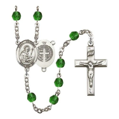 St. Benedict Green May Rosary 6mm