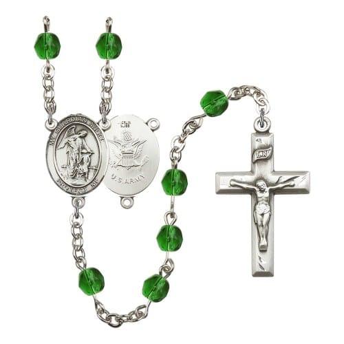 Guardian Angel / Army Green May Rosary 6mm