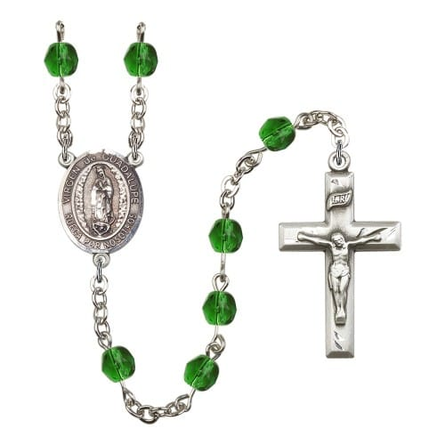 Virgen De Guadalupe Green May Rosary 6mm