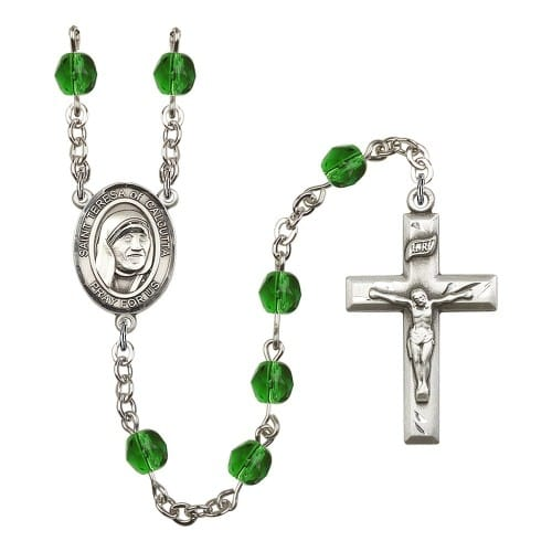 Blessed Teresa Of Calcutta Green May Rosary 6mm