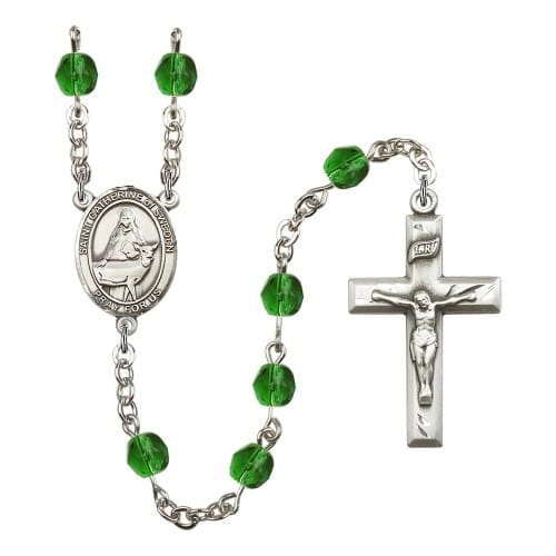 St. Catherine Of Sweden Green May Rosary 6mm