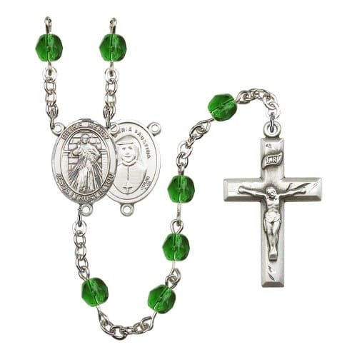 Divine Mercy Green May Rosary 6mm