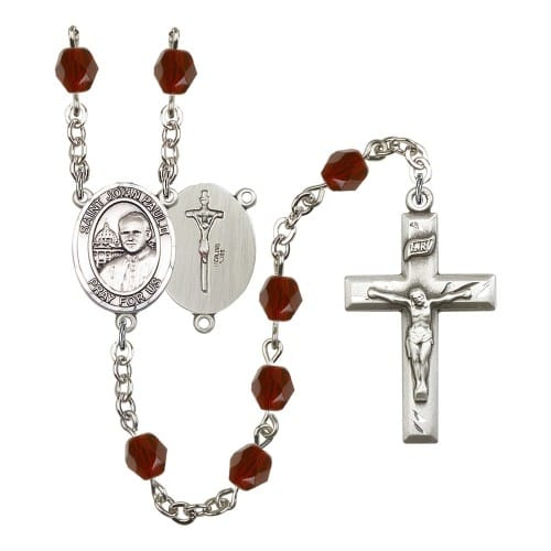 St. John Paul II Red January Rosary 6mm