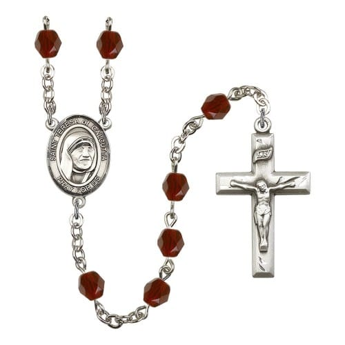 Blessed Teresa Of Calcutta Red January Rosary 6mm