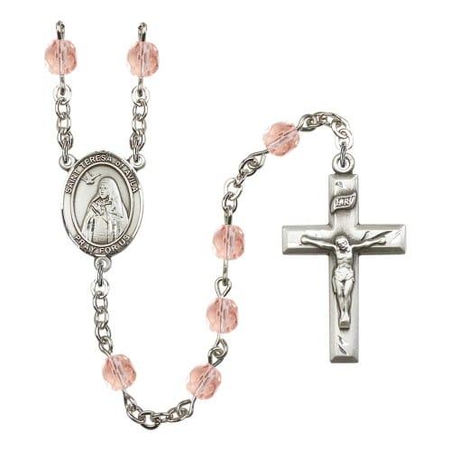 St. Teresa Of Avila Pink October Rosary 6mm