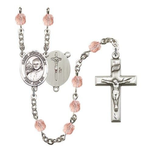 St. John Paul II Pink October Rosary 6mm