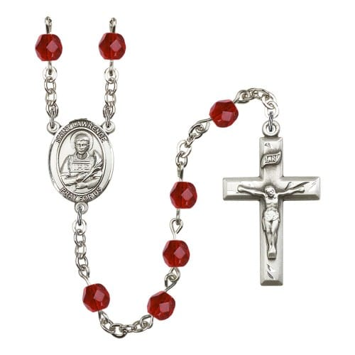 St. Lawrence Red July Rosary 6mm