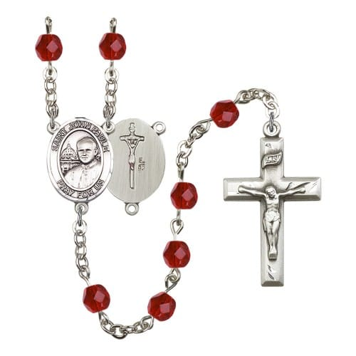 St. John Paul II Red July Rosary 6mm