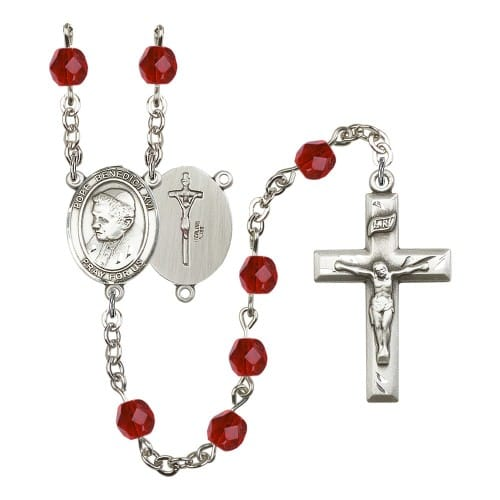 Pope Emeritus Benedict XVI Red July Rosary 6mm