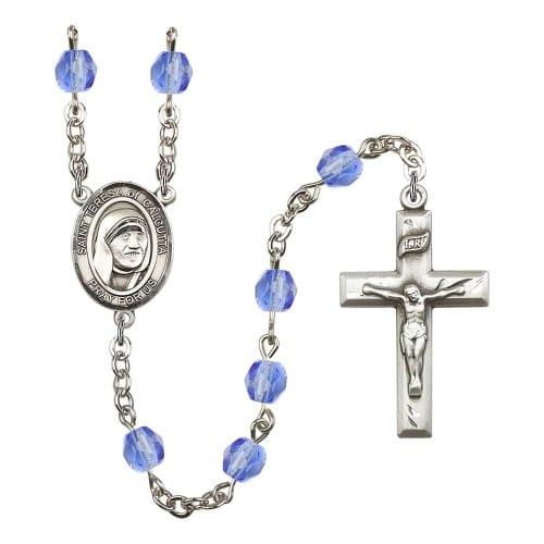 Blessed Teresa Of Calcutta Blue September Rosary 6mm