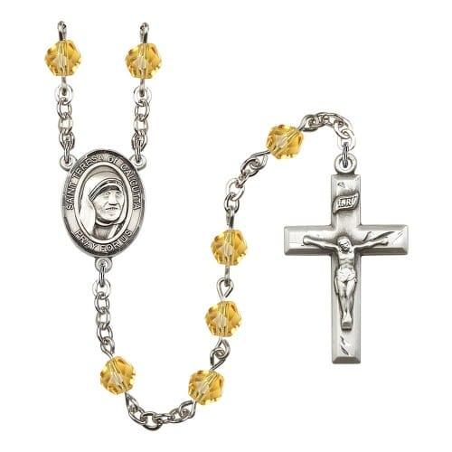 Blessed Teresa Of Calcutta Yellow November Rosary 6mm