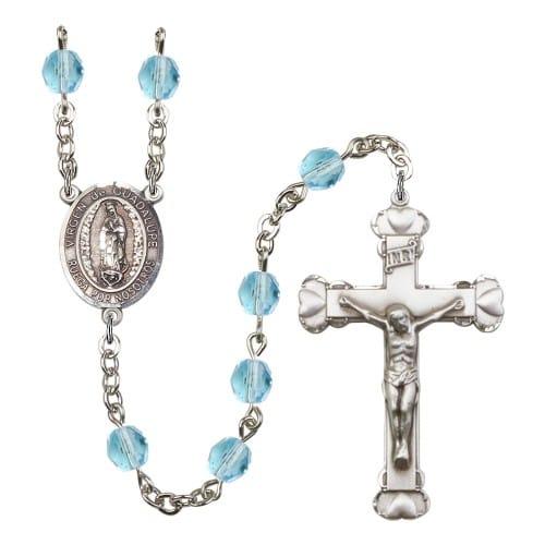 Virgen De Guadalupe Aqua Blue March Rosary 6mm